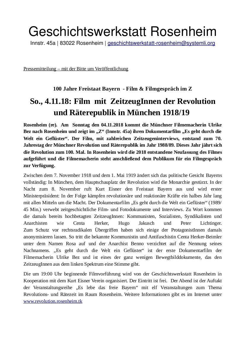 So., 4.11.18: Film mit ZeitzeugInnen der Revolution